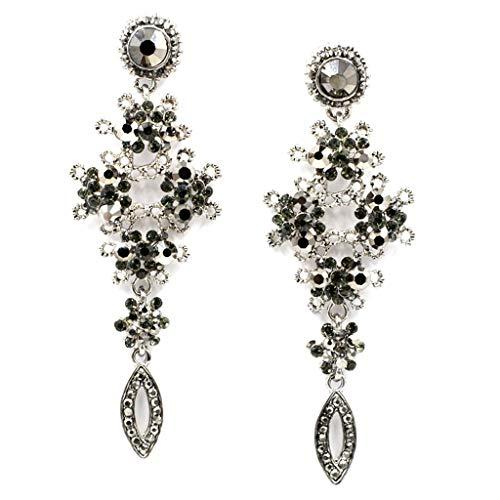 Fine Texture New Statement Long Big Fashion Crystal Earrings for Women Girl Party Earring Factory Price Earring Wholesale (Earrings Chandelier Diamond Tone Silver)