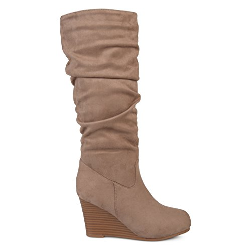 (Brinley Co. Womens Regular and Wide Calf Slouchy Faux Suede Mid-Calf Wedge Boots Taupe, 8.5 Regular US)