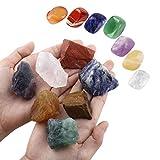 SUNYIK 7 Chakra Stones Set,Natural Rough Raw Crystal Healing Kits Irregular 7 Chakra Stone
