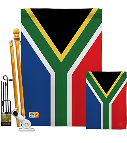 Breeze Decor FK108208-BO South Africa World Nationality Decorative Vertical Flags Kit, House & Garden Set w/Flagpole, Multi-Color (Patio South Africa Set)