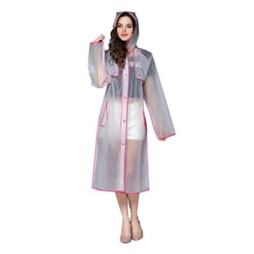 Imperméable Plein Transparent Raincoat Portable À Poncho Femmes Eva Sports Longue Air Randonnée Vêtements Hzjundasi La De Pluie Encapuchonné Mode Rose CZYXwCq