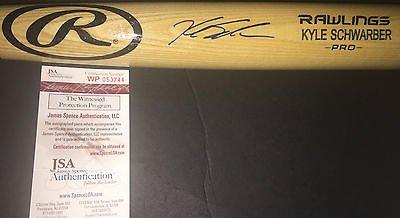Kyle Schwarber Cubs Autographed Signed Engraved Bat JSA WITNESS COA (Blonde Engraved Bat)