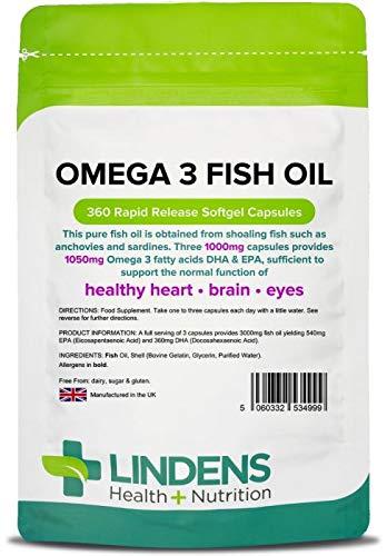 Lindens Aceite de pescado Omega 3 1000 mg en cápsulas | 360 Paquete | 1050 mg