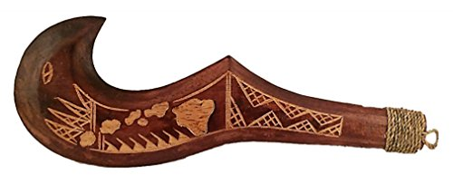 (Hand Carved Wood Hawaiian Hooked Weapon)