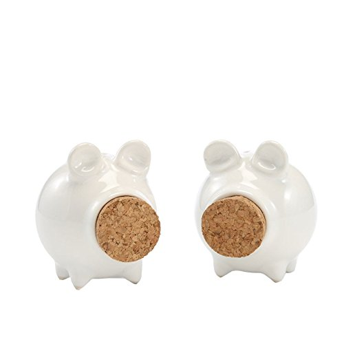 Stoneware & Cork Miniature Piggy Salt & Pepper Shakers, White, Set of 2 by Red Co.