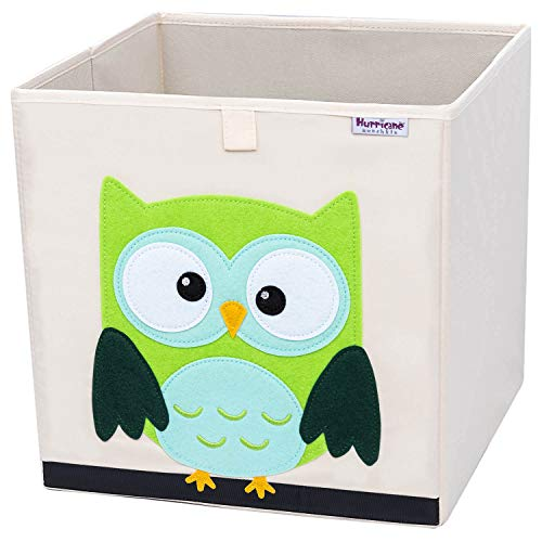 Hurricane Munchkin Collapsible Toy Storage Box | Cube Bin Organizer for Children Toys, Stuffed Animals, Books & Clothes (13'' x 13'' x 13'') | Great for Nursery, Kids Bedroom & Playroom - Owl by Hurricane Munchkin
