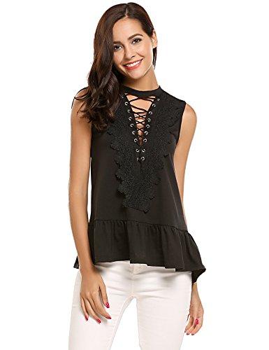 Halife Women Sexy Deep V Neck Lace Up Sleeveless Blouse Top T Shirts Black,S (Doll Sleeveless Tee Baby)
