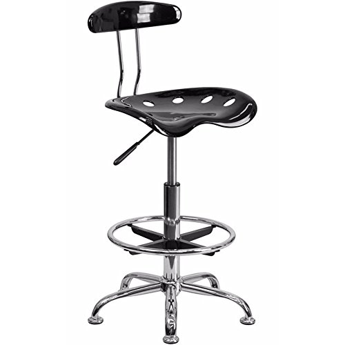 Offex Contemporary Sleek Vibrant Black and Chrome Drafting Stool with Tractor Seat