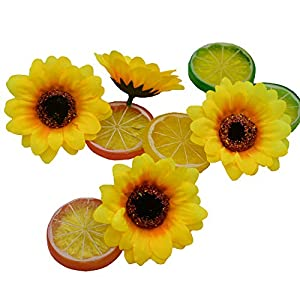 """HUIANER 100PCS Artificial Sunflower Heads, 2.8"""" Fake Simulation Sunflower Head for Wedding Home Party Cake Decoration 5"""