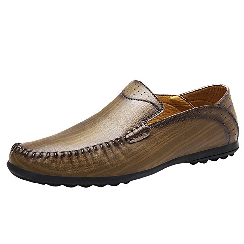 Latasa Mens Slip On Flats Loafers Shoes Khaki 9dx6YX4uyU