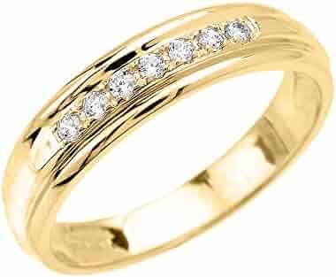 Men's 10k Yellow Gold Diamond Wedding Band