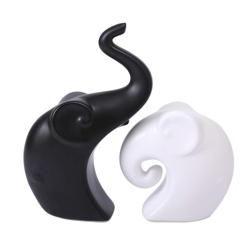 Anding Creative Home Decorating Accessories Ceramic Mother and Baby Elephant Statue/Animal Porcelain Decorative Ceramic Craft Art Statue (LY-B2702 Elephant) Black and White Elephant