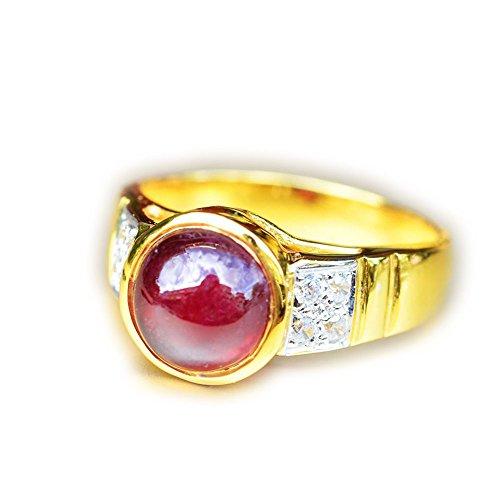 Lovemom 26.60ct Natural Cabochon Red Ruby 925 Gold Silver Ring 8US Madagascar ()