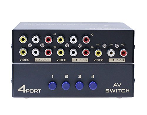 4 Zone Audio - C-Zone 4-Way RCA Switcher,AV Switch 4 In 1 Out Composite Video L/R Audio Selector Box for DVD/STB/Game Consoles