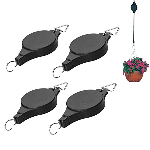 4Pcs Retractable Plant Pulley Adjustable Hanging Flower Basket Hook Hanger for Garden Baskets Pots and Birds Feeder Hanging Basket Indoor Outdoor Decoration by W-family