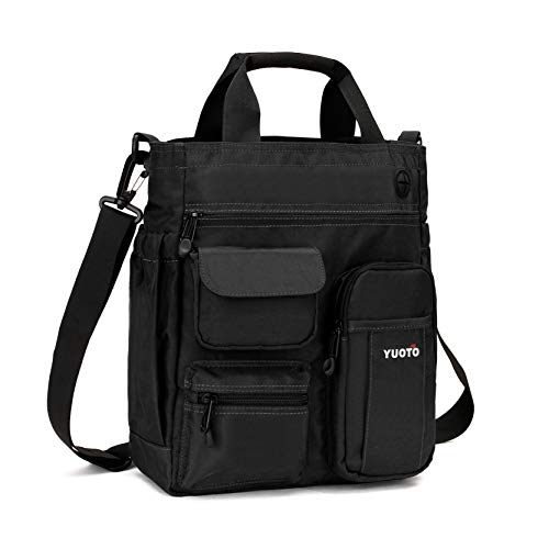 YUOTO Messenger Bag Multiple Pocket Shoulder Bag Crossbody purses handbag fit Ipad Pro Laptop 14 inch black