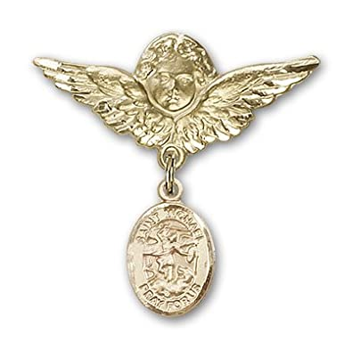 Amazon Com 14k Gold Baby Badge With St Michael The Archangel Charm