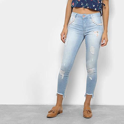 Calça Jeans Cigarrete Cropped Biotipo Cintura Média Feminina - Azul - 36