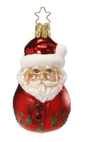 Inge Glas Santa Bobble-Head 1-022-13 German Glass Christmas Ornament Gift Box ()