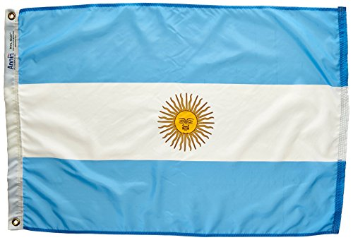 Annin Flagmakers Model 190322 Argentina Flag Nylon SolarGuard NYL-Glo, 2x3 ft, 100% Made in USA to Official United Nations Design Specifications ()