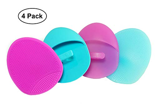 Silicone Facial Cleansing Brush Soft and Medium Set (4 pack) - Deep Cleaning Brush, Exfoliating Pad, Massage Scrubber, For Sensitive Skin, Blackhead and Makeup Removal, Pore Cleansing and Baby Shower