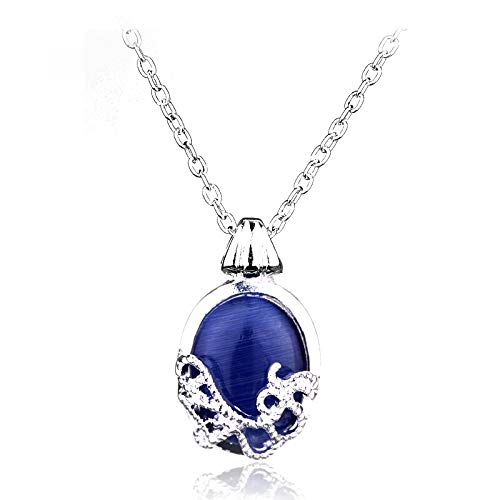10 Pcs/Pack Movie Vampire Diaries Necklace Fashion Blue Natural Stone Katherine Pendant Necklace for Women Statement Necklace
