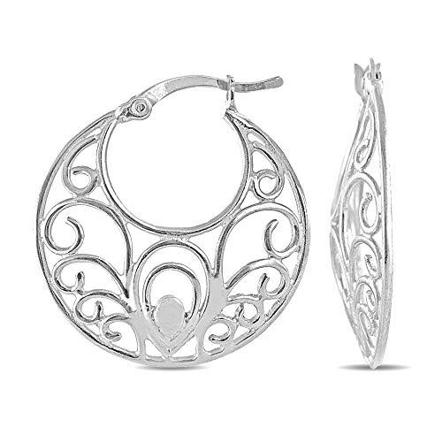 Charmsy Sterling Silver Jewelry Filigree Cut Hoop Earring for Women