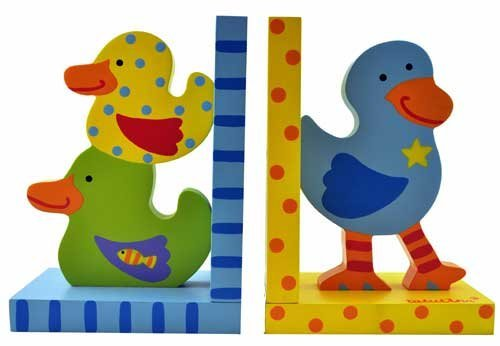 1pair cute ducky nonskid kids book shelf, and display Bookends, For Kids Teenagers Teachers Acrimet design, heavy duty Book Ends