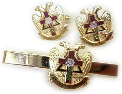 Tie Tac Cuff Links Shirt Studs Men/'s Gold Plated Masonic Scottish Rite Set