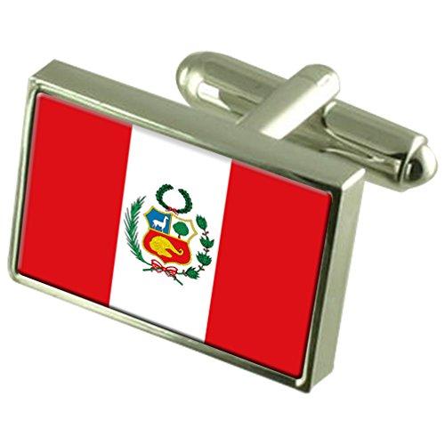 Perú Sterling Silver Flag de manchette en boîte personnalisée gravée