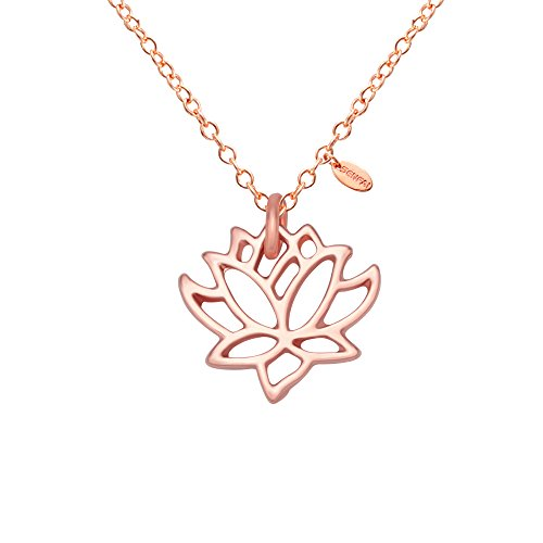 Carved Rose Flower Pendant - SENFAI New Simple Gold and Silver Lotus Necklaces for Women Elegant Vivid Lotus Flower Pendant Necklaces (rose gold)