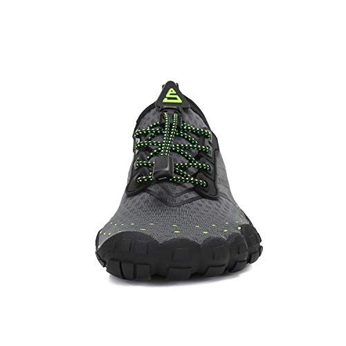 MOERDENG Men Women Water Shoes Quick Dry Barefoot Aqua Socks Swim Shoes for Pool Beach Walking Running (Dark grey) 12 M US Women / 10 M US Men by MOERDENG (Image #3)