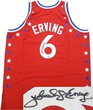 Julius Dr J Erving Philadelphia 76ers NBA Hand Signed Authentic Mitchell  and Ness Red All-Star Jersey  Amazon.ca  generic 10d973a11