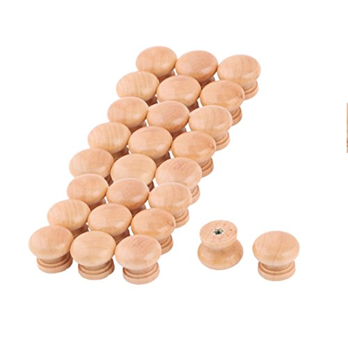uxcell Wood Round Cabinet Cupboard Garderobe Gate Door Pull Handle Grip Knob 26pcs by uxcell