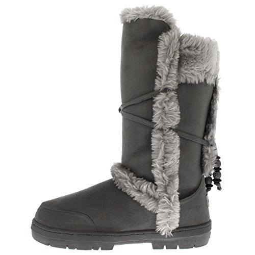 Holly Mujer Piel Forrada Forrada Lluvia Nieve Invierno Al Aire Libre Para Caminar Botas Gris