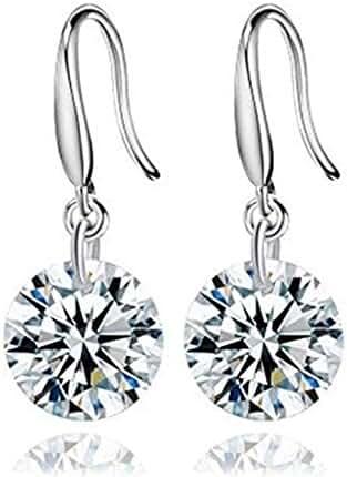 YiYi Operation Best Friend 8mm S925 Sterling Silver CZ Hook Drop Dangle Earrings Womens Engagement Gift