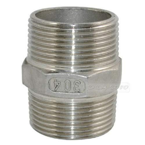 """FidgetKute 1-1/4"""" Male to Male Hex Nipple Steel SS 304 Threaded Pipe Fittings NPT"""