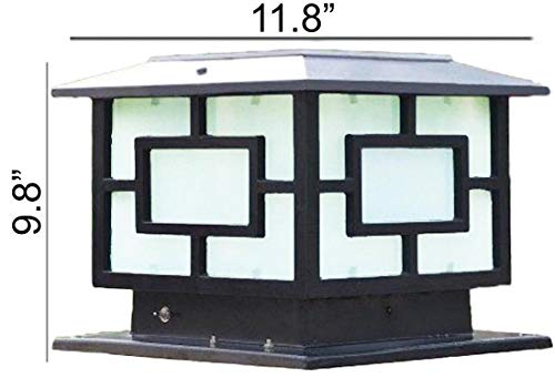 HomeTown Market The 11.8 in X 11.8 in (30CM X 30CM) Solar Powered Very Large Post Cap Lights Or Outdoor Solar Pillar Lights (Pure Black Metal)