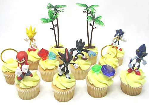 Cake Toppers Party Favor Sonic Friends Figure Play Set Featuring Sonic Character Figures Accessories - Includes All Items -