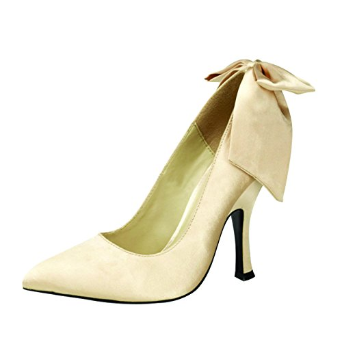 Pin Up Couture - Retro Foodwear Pumps Sale, Vegan in Champaigne Satin BOMBSHELL-03