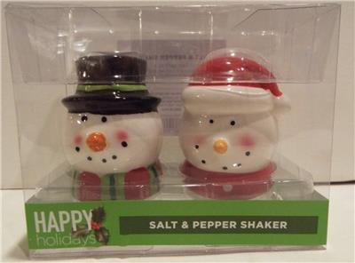 (Brand New In Box SNOWMAN Christmas Salt & Pepper Shakers)
