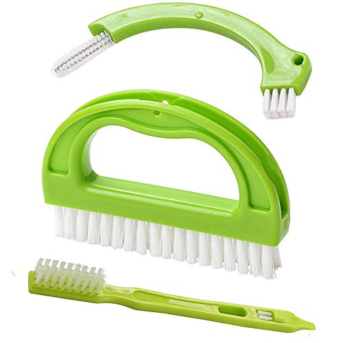 Stainless Steel Basic Wall Rail - Grout Cleaner Brush - 3 in 1 Tile Joint Cleaning Scrubber Brush for Bathroom, Shower, Floors, Window Track, Kitchen and Other Household