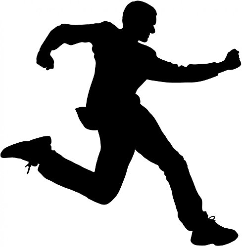 Wallmonkeys WM114991 Man in Suit Jumping 2 Silhouette Peel and Stick Wall Decals (30 in H x 29 in W), Medium-Large