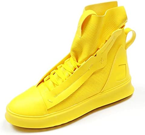 メンズシューズハイトップ厚底靴ひもスニーカーファッションユースヒップホップ潮シューズレザーブーツサイズ(5.5 / 6 / 6.5 / 7 / 7.5 / 8),イエロー,42