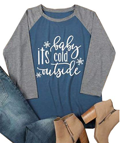 ALLTB Plus Size Baby It's Cold Outside Christmas T Shirt Womens 3/4 Sleeve Snowflake Print Baseball Tee ()