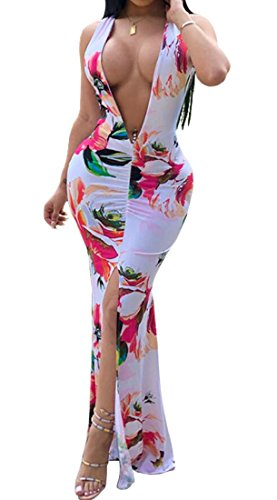 Bodycon Domple Dress Ruched Slit Sleeveless Floral Club Deep Sexy V Women's 1 Neck Ar0OSAq
