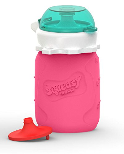 (Reusable Baby Food Pouch + Squeeze, Portable, Refillable Baby Food Container, Storage + Great for Smoothies and Snacks + 100% Food Grade Silicone - Squeasy Snacker - Featuring No-Spill Insert)