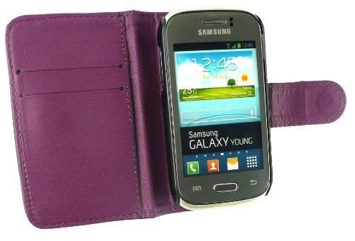 Emartbuy ® Value Pack Para Samsung Galaxy Young S6310 Prima Púrpura + Compatible Micro Usb Car Charger + Protector De Pantalla De Cuero De La Pu Caja De La Carpeta / Cubierta / Bolsa