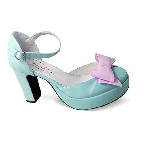 Avacostume Kvinna Vintage Mode Plattform Chunky Klack Sandaler Skor Blå