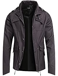 Coofandy Men's Fashion Military Zip Up Jacket Casual Button Coat